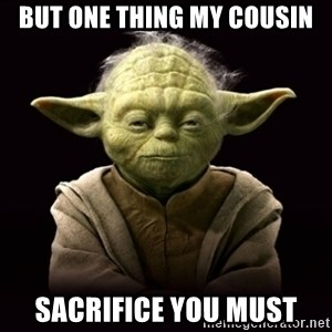 ProYodaAdvice - but one thing my cousin sacrifice you must