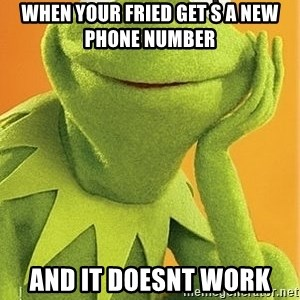 Kermit the frog - when your fried get s a new phone number  and it doesnt work