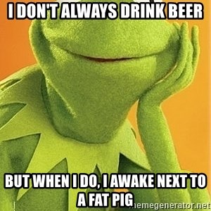 Kermit the frog - i don't always drink beer but when i do, i awake next to a fat pig