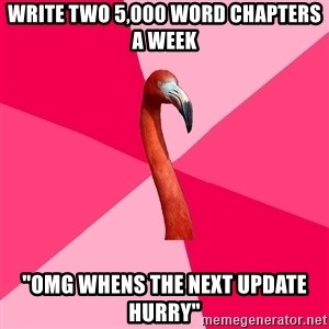 "Fanfic Flamingo - WRITE TWO 5,000 WORD CHAPTERS A WEEK ""OMG WHENS THE NEXT UPDATE HURRY"""
