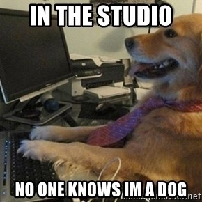 I have no idea what I'm doing - Dog with Tie - in the studio  no one knows im a dog