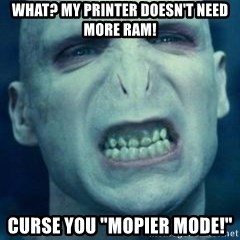 """Angry Voldemort - What? My printer doesn't need more RAM! Curse you """"Mopier mode!"""""""