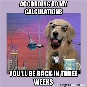 Dog Scientist - According to my calculations You'll be back in three weeks