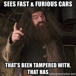 Hagrid - sees fast & furious cars that's been tampered with, that has