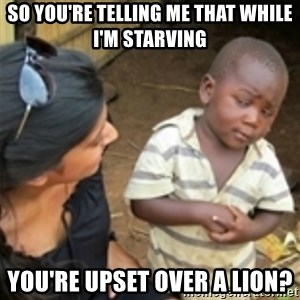 Skeptical african kid  - so you're telling me that while I'm starving you're upset over a lion?