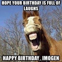 Horse - Hope your birthday is full of laughs Happy Birthday , Imogen
