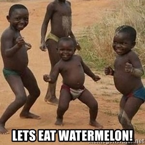 Dancing African Kid -  lets eat watermelon!
