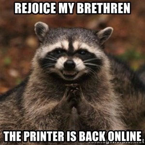 evil raccoon - rejoice my brethren the printer is back online