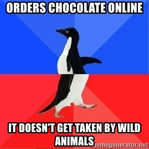 Socially Awkward to Awesome Penguin - Orders chocolate online It doesn't get taken by wild animals