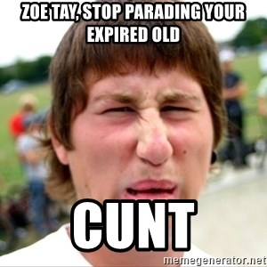 Disgusted Nigel - zoe tay, stop parading your expired old cunt
