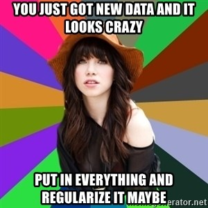 Carly Rae Jepsen Meme - You just got new data and it looks crazy Put in everything and regularize it maybe