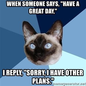 """Chronic Illness Cat - when someone says, """"Have a great day,"""" I reply, """"Sorry, I have other plans."""""""