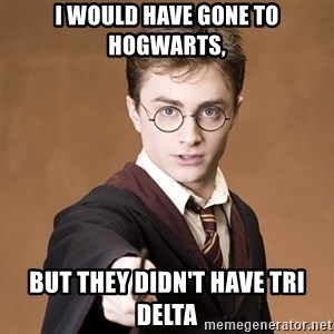Advice Harry Potter - I WOULD HAVE GONE TO HOGWARTS, BUT THEY DIDN'T HAVE TRI DELTA