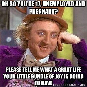 Oh so you're - oh so you're 17, unemployed and pregnant? please tell me what a great life your little bundle of joy is going to have