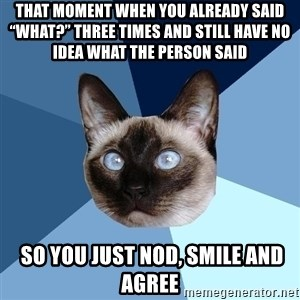 """Chronic Illness Cat - That moment when you already said """"what?"""" three times and still have no idea what the person said  so you just nod, smile and agree"""