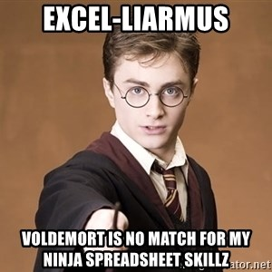 Advice Harry Potter - Excel-liarmus Voldemort is no match for my ninja spreadsheet skillz