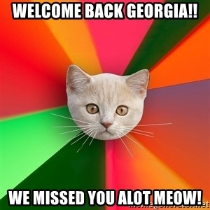 Advice Cat - WELCOME BACK GEORGIA!! WE MISSED YOU ALOT MEOW!