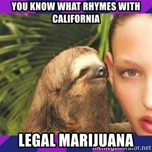 Perverted Whispering Sloth  - You know what rhymes with California Legal Marijuana