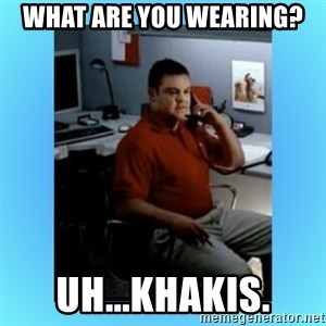 jake from statefarm - What are you wearing? Uh...khakis.