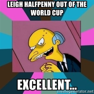 Mr. Burns - Leigh Halfpenny out of the world cup Excellent...