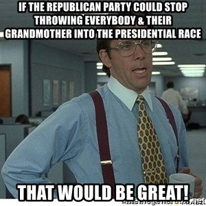 That would be great - if the republican party could stop throwing everybody & their grandmother into the presidential race that would be great!