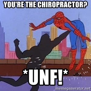 crotch punch spiderman - you're the chiropractor? *unf!*