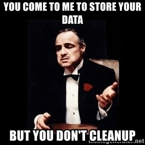 Don Corleone - You come to me to store your data But you don't cleanup