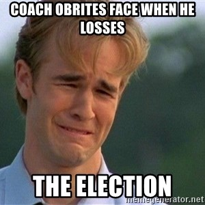 Crying Man - coach Obrites face when he losses  the election