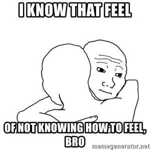 I know that feel bro blank - I know that feel of not knowing how to feel, bro
