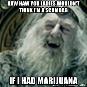 you have no power here - haw haw you ladies wouldn't think I'm a scumbag if I had marijuana
