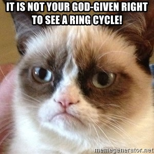 Angry Cat Meme - IT IS NOT YOUR GOD-GIVEN RIGHT TO SEE A RING CYCLE!