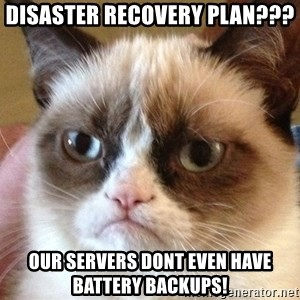 Angry Cat Meme - disaster recovery plan??? our servers dont even have battery backups!