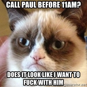 Angry Cat Meme - Call Paul before 11AM? Does it look like I want to fuck with him