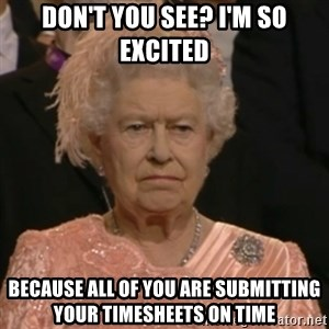 Unhappy Queen - Don't you see? I'm so excited Because all of you are submitting your timesheets on time