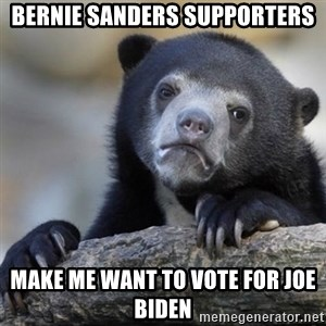 Confessions Bear - bernie sanders supporters make me want to vote for joe biden