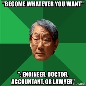 "High Expectations Asian Father - ""Become whatever you want"" "": Engineer, doctor, accountant, or lawyer"""