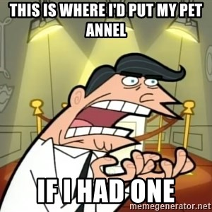 If I had one- Timmy's Dad - this is where i'd put my pet Annel IF I HAD ONE
