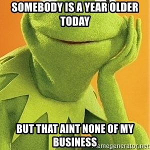 Kermit the frog - Somebody is a year older today  But that aint none of my business
