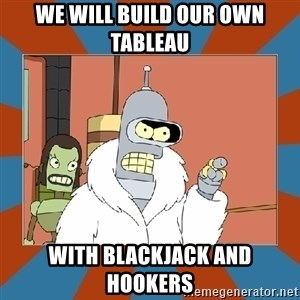 Blackjack and hookers bender - WE will build our own tableau with blackjack and hookers
