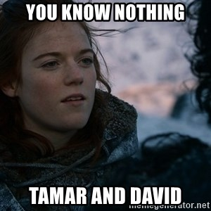 Ygritte knows more than you - You know nothing Tamar and David