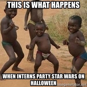 Dancing african boy - this is what happens when interns party star wars on Halloween