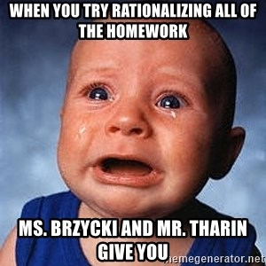 Crying Baby - WHEN you try rationalizing all of the homework Ms. Brzycki and Mr. Tharin give you