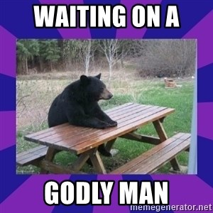 waiting bear - waiting on a  godly man