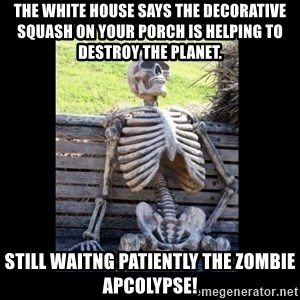 Still Waiting - The white house says the decorative squash on your porch is helping to destroy the planet. still waitng patiently the zombie apcolypse!