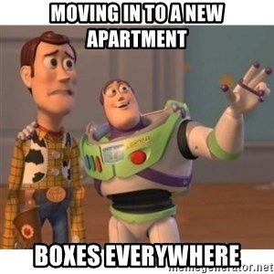 Toy story - Moving in to a new apartment Boxes Everywhere