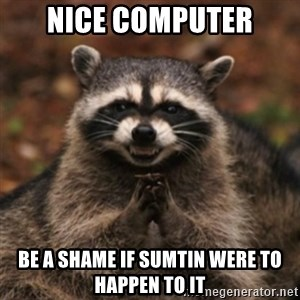 evil raccoon - Nice computer be a shame if sumtin were to happen to it