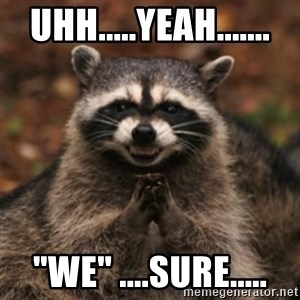 "evil raccoon - Uhh.....Yeah....... ""WE"" ....sure....."