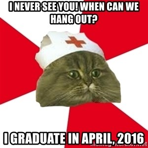 Nursing Student Cat - I never see you! When can we hang out? I graduate in April, 2016