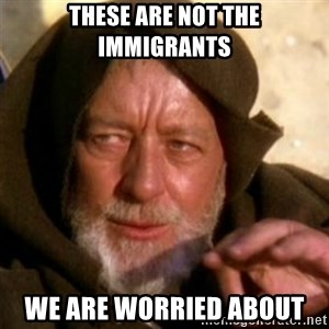 These are not the droids you were looking for - These are not the immigrants we are worried about