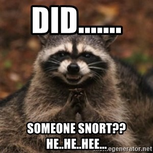 evil raccoon - DID....... SOMEONE SNORT?? HE..HE..HEE...